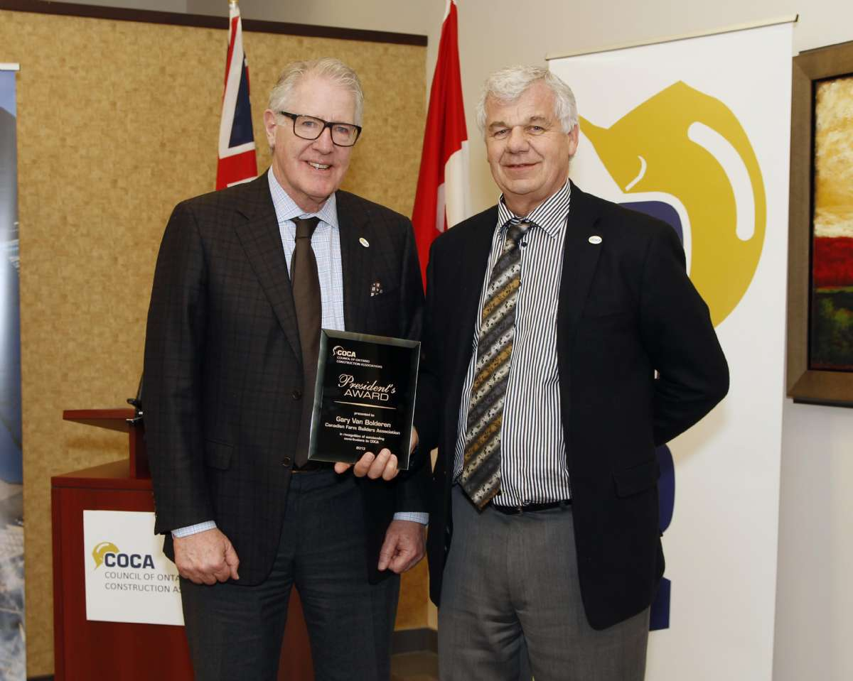 COCA honours Gary as a member of the CFBA and COCA